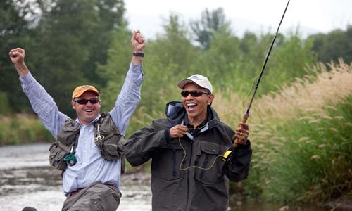 President Obama Fly Fishing in Montana