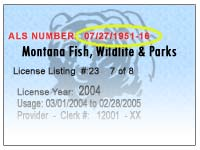 Automated licensing service als montana hunting and for Mt fishing license