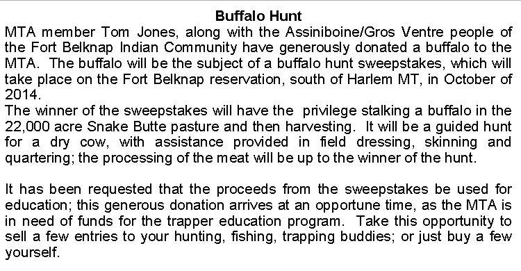 Buffalo Sweep Info