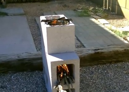 DIY Rocket Camp Stove Made From 4 Cement Blocks By Angelamontana