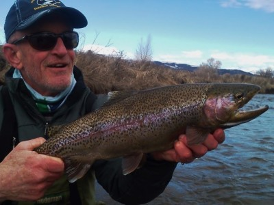 Steve shows us a slabby Madison River rainbow.