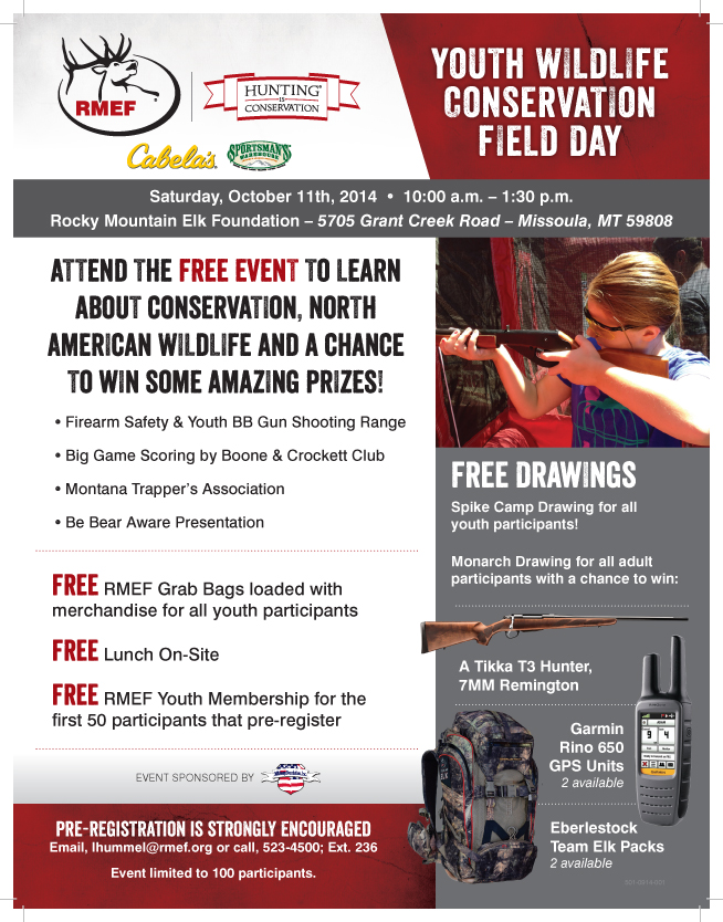 2014 RMEF Youth Wildlife Field Day Flyer