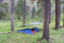 A basic survival shelter.
