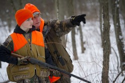 Annual youth rabbit hunt sponsered by the Belding Sportsman Club in cooperation with the DNR Flat River State Game area. 14 year old Cohl Riddle, from Vicksburg, with hunting mentor Walter Ingbartsen of Ionia.