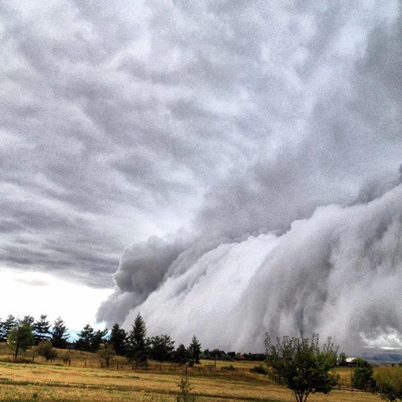 Reader Megan Biggs sent in this photo of the Sept. 30, 2013, shelf cloud rolling into Bozeman.