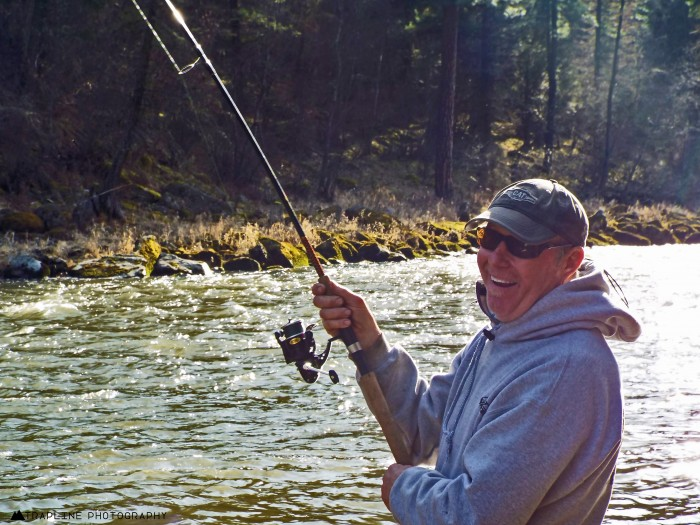 Bert showing how fun steelhead fishing is!