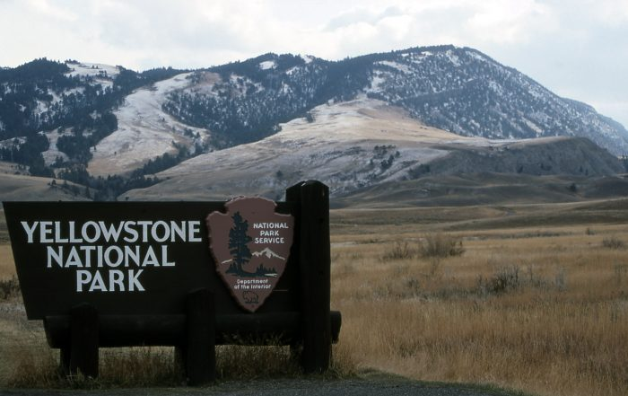 Yellowstone National Park sign at the North Entrance; Jim Peaco; October 1992
